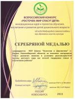 Диплом_Серебряная медаль_Конкурс Росточек_2015 г.