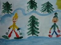 Лиза К. Лыжники на прогулке.